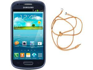 Samsung Galaxy S3 Mini I8200 Blue Unlocked Cell Phone + HandCandy - Tan Bundle