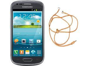 Samsung Galaxy S3 Mini I8200 Gray Dual-Core 1.2GHz Unlocked Cell Phone + HandCandy - Tan Bundle