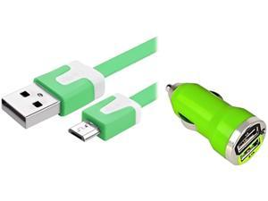 Insten 1354707 Green Dual USB Mini Car Charger Adapter with Green Micro USB 2-in-1 Noodle Cable