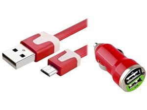 Insten 1354709 Red Dual USB Mini Car Charger Adapter with Red Micro USB 2-in-1 Noodle Cable