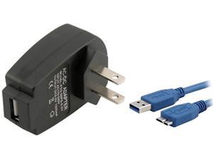 Insten 1457871 Black USB Travel Charger Adapter with 6FT SuperSpeed Micro USB 3.0 Charging Cable for Galaxy Note III