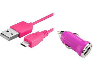 Insten 1542138 Hot Pink USB Car Charger Adapter with 10FT 2-in-1 Micro USB Charging Data Cable