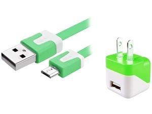 Insten 1599474 Green USB Mini Travel Charger and Micro USB Noodle Cable Compatible with Samsung Galaxy Note 3