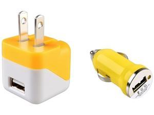 Insten 1663774 Yellow USB Mini Travel Charger Adapter and Mini Car Charger Adapter for Cell phone