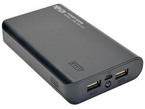 Tripp Lite Black 12000 mAh Portable Dual-Port Mobile Power Bank USB Battery Charger with LED Flashlight UPB-12K0-2U
