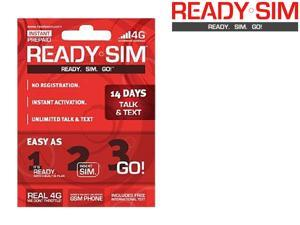 Ready SIM ARS-14TT 14 Day Talk and Text Plan