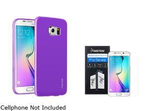 Insten Purple Jelly TPU Gel Case + Clear Screen Protector Guard Shield Film For Samsung Galaxy S6 Edge 2106079