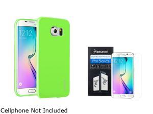 Insten Green Jelly TPU Gel Case + Clear Screen Protector Guard Shield Film For Samsung Galaxy S6 Edge 2106205