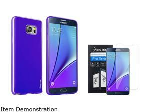 Insten TPU [ Ultra Thin ] Blue Jelly Soft Slim Case + Clear Full HD Transparent Premium Screen Protector For Samsung Galaxy Note 5 2138532