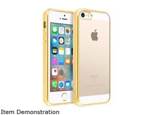 BasAcc Clear/Gold TPU Rubber Candy Skin Case Cover Compatible With Apple iPhone 5 / 5S / SE 2224400