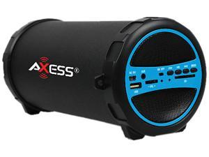 "Axess SPBT1031-BL Portable Bluetooth Hi-Fi Cylinder Loud Speaker with SD Card, USB, AUX And FM Inputs, 3.00"" Sub"