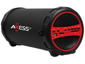 "Axess SPBT1031-RD Portable Bluetooth Hi-Fi Cylinder Loud Speaker with SD Card, USB, AUX And FM Inputs, 3"" Sub"