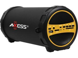 "AXESS SPBT1031-YL Yellow Portable Bluetooth Hi-Fi Cylinder Loud Speaker with SD Card, USB, AUX And FM Inputs, 3"" Sub"