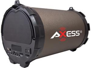"AXESS SPBT1032-BR Brown Portable Bluetooth Hi-Fi Speaker with Digital Screen, SD Card, USB, AUX And FM Inputs, 5.25"" Sub"
