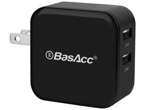 BasAcc 2102704 Black 4.8A / 24W Universal 2-Port High Speed USB Wall Charger Home Travel Charger Adapter