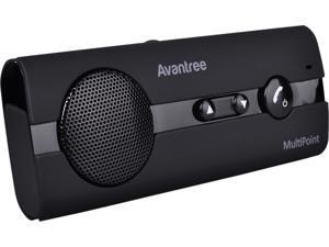 Avantree BTCK-10BN-BLK Black Bluetooth Handsfree Visor Car Kit, LIVE ONLINE SUPPORT, Car Speakerphone, Supports 2 devices