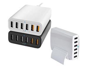Fuji Labs FJ-SC6P500-BK Black 6-Port 60W Intelligent High Speed USB Wall Charger