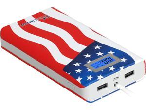 LifeCHARGE SMART 16800 mAh MEGA LCD Portable Dual Usb Power Bank External Charger for smartphones, Tablets - USA FLAG ONT-PWR-36215