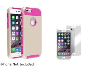 1X Hybrid Case compatible with Apple iPhone 6 4.7, Hot Pink TPU/Gold Hard