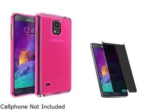 Insten Hot Pink Jelly TPU Case Cover + Privacy Screen Protector for Samsung Galaxy Note 4 1963446