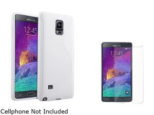 Insten White S Shape TPU Case Cover + Screen Protector for Samsung Galaxy Note 4 1963482