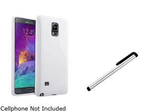 Insten White S Shape TPU Case Cover + Silver Stylus Pen for Samsung Galaxy Note 4 1963488