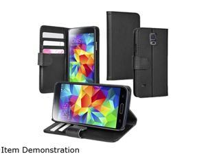 Insten Black Stand Leather Case with Card Slots for Samsung Galaxy S5 SV 1830421