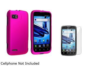 Insten Hot Pink Snap-in Rubber Coated Case & Screen Protector Compatible with Motorola Atrix 2 MB865 1613098