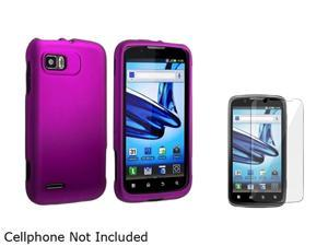 Insten Purple Snap-in Rubber Coated Case & Screen Protector Compatible with Motorola Atrix 2 MB865 1613099