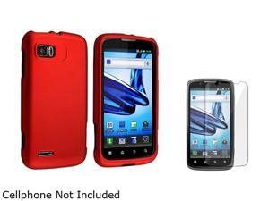 Insten Red Snap-in Rubber Coated Case & Screen Protector Compatible with Motorola Atrix 2 MB865 1613100