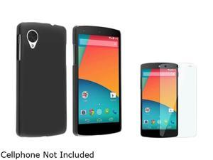 Insten Black Snap-in Rubber Coated Case with Screen Protector Compatible with LG Nexus 5 D820 1624592