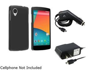 Insten Black Snap-in Rubber Coated Case with Travel/Wall Charger And Car Charger Compatible with LG Nexus 5 D820 1624601