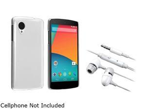Insten Clear Snap-in Crystal Case with White In-ear (w/ on-off) Stereo Headsets Compatible with LG Nexus 5 D820 1624605