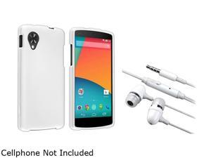 Insten White Snap-in Hard Rubber Case with White In-ear (w/on-off) Stereo Headsets Compatible with LG Nexus 5 1646068