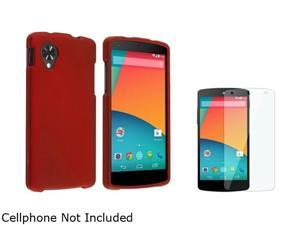 Insten Red Snap-in Hard Rubber Case with Screen Protector Compatible with LG Nexus 5 D820 / D821 1646092