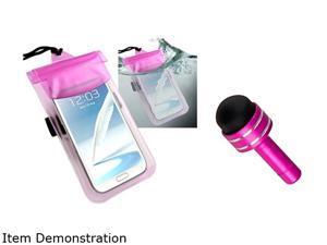 Insten Hot Pink Waterproof Bag with Armband + Hot Pink Mini Stylus w/ Plug Dust Cap for Motorola Moto X / Moto G 1646128