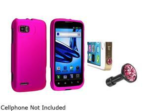 Insten Hot Pink Snap-in Rubber Coated Case with Pink Diamond Headset Dust Cap Compatible with Motorola Atrix 2 MB8651665672