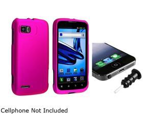 Insten Hot Pink Snap-in Rubber Coated Case with Black Headset Dust Cap Compatible with Motorola Atrix 2 MB865 1665673