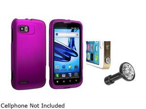 Insten Purple Snap-in Rubber Coated Case with Clear Diamond Headset Dust Cap for Motorola Atrix 2 MB865 1665674