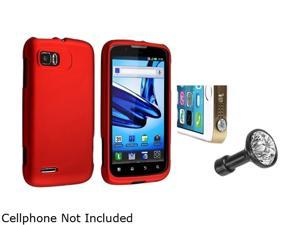 Insten Red Snap-in Rubber Coated Case with Clear Diamond Headset Dust Cap for Motorola Atrix 2 MB865 1665676