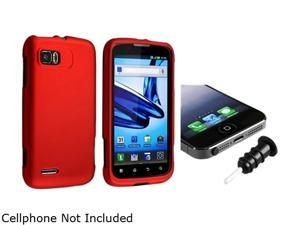 Insten Red Snap-in Rubber Coated Case with Black Headset Dust Cap Compatible with Motorola Atrix 2 MB865 1665677