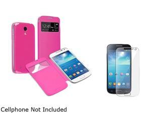 Insten Hot Pink Leather Back Cover Case with Screen Protector Compatible with Samsung Galaxy S4 S IV Mini i9190 1681086