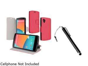 Insten Red Stand Leather Case with Stylus Compatible with LG Nexus 5 D820 / D821 1681204