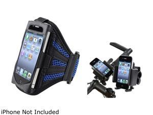 Insten Black/Blue Deluxe ArmBand with Bicycle Phone Holder Compatible with Apple iPhone 4 / 4s 1412510