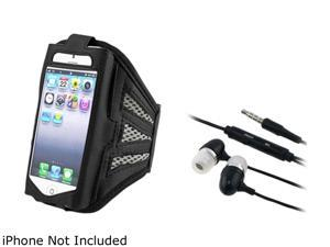 Insten Black/Silver Deluxe Sports ArmBand Case with Black 3.5mm In-Ear Stereo Headset w/ On-off & Mic for iPhone 5/5C/5S1412438