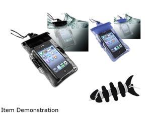 Insten Black/Blue 2 in1 Waterproof Bag Case with Black Fishbone Headset Smart Wrap for iPhone 4 / 4s / 5 / 5S 1412509