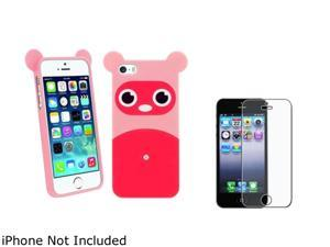 Insten Pink Raccoon TPU Rubber Case with Anti-Glare LCD Cover Compatible with Apple iPhone 5 / 5S 1475173