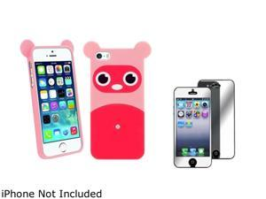 Insten Pink Raccoon TPU Rubber Case with Mirror Screen Protector Compatible with Apple iPhone 5 / 5S 1475174