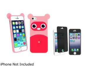 Insten Pink Raccoon TPU Rubber Case with Privacy Screen Cover Compatible with Apple iPhone 5 / 5S 1475175