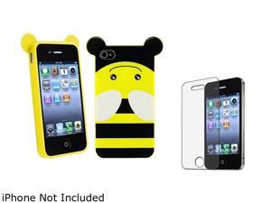 Insten Multiple Bee TPU Rubber Case with Anti-Glare LCD Cover Compatible with Apple iPhone 4 / 4S 1475193